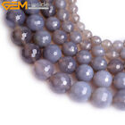 """Genuine Gray Agate Onyx Gemstone Beads Natural Stone Strand 15"""" Round Faceted"""