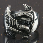 "316L Stainless Steel Biker ""Live To Ride,Ride To Live"" Banner Eagle Ring US 9-15"