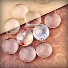 Transparent Glass Cabochons Clear Flat Back Round Domed Cameo Cover Fit Settings