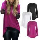 Fashion Ladies Autumn Loose Casual Long Sleeve Stitching Tee Shirt Tops Blouse