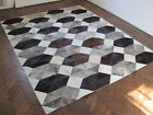 NEW COWHIDE PATCHWORK RUG LEATHER CARPET cu_492