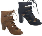 Ladies Shoes Inniu Catwalk Amity Black or Tan Lace/Zip Heels Sandals 6-10 Shoe