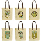 Vietsbay's Owl Printed Canvas Tote Bags with Leather Handles WAS 30