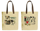 Vietsbay's Hanoi, Vietnam Printed Canvas Tote Bags with Leather Handles WAS 30