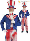 Mens Uncle Sam Fancy Dress USA America 4 July Independence Day Costume National