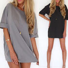 2015 Women Short Sleeve Chiffon Loose Mini Dress Long Tops Blouse T Shirt dress