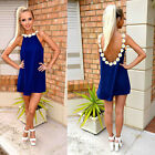 Sexy WomenFloral Lace Sleeveless Backless Holiday Beach Top Vest  Dress Sundress