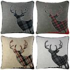 "STAG DEER CUSHION COVERS WOOL BLEND 18""x18"" 45cmx45cm CHARCOAL NATURAL RED BLUE"