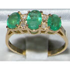 ENGLISH HALLMARKED 9CT YELLOW GOLD EMERALD & DIAMOND RING - ALL SIZES AVAILABLE.