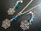 Snowflake & Crystal Necklace & Earring Set  Frozen Clip On or Pierced