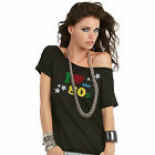 Black I Love The 80s GLITTER Printed Retro T-Shirt Fancy Dress Party Ladies Top