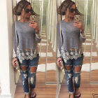 Women Summer Vest  Lace Top Long Sleeve Lace Blouse Casual Tank Tops T-Shirt