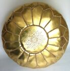 100% Moroccan Handmade Faux Leather Pouffe Gold