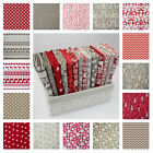 MAKOWER SCANDI CHRISTMAS COTTON FABRIC plus plains dots gingham stripe RED TAUPE