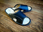 New Mens Black 100% Natural Leather Slippers Size 7 8 9 10 11 12 Luxur Flip-Flop