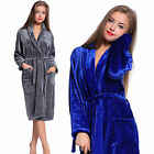 Unisex Women Men Fleece Shawl Collar Long Sleeve Bathrobe Dressing Gown Robe