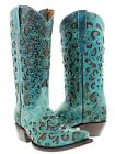 Women's turquoise brown western leather cowboy cowgirl riding rodeo boots dance