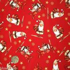 Red cute Santa Christmas fabric 100 % cotton per 1/2 mtr or per FQ