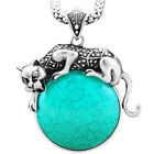 Vintage Look Antique Silver Plated Exotic Leopard Pendant Turquoise Necklace