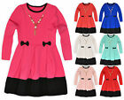 Girls Bright Long Sleeved Waffle Smock Dress New Kids Bow Dresses Age 2-10 Years