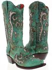 womens turquoise silver studded western leather cowboy cowgirl boots snip toe