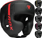 RDX Leather Headgear Face Guard Protector Boxing Helmet MMA Black Head Guard US