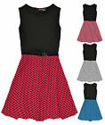 Girls Sleeveless Belted Skater Dress New Kids Flared Party Dress Ages 5-13 Years