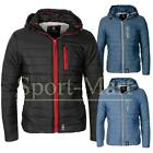 Mens Crosshatch Quilted Padded Full Zip Winter Coat Hooded Bubble Jacket Size