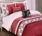 Moroccan Boho Embroidered 100 Cotton 5pc Red Duvet Cover Pillows Set Queen King
