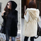 Womans Faux Rabbit Fur Hooded Vests Jacket Slim Long Waistcoat Plush Wrap Coat