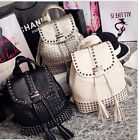 Fashion Women Braided Tassels Rivet Backpack Casual Shoulder Bag Pu Leather Tote