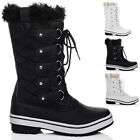 WOMENS LACE UP FLAT WINTER SNOW BOOTS SZ 3-8
