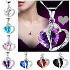 Fashion Women Silver Chain Crystal Rhinestone Heart Pendant Necklace Jewelry