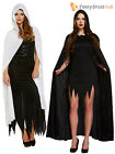 Long Hooded Velvet Cape Cloak Halloween Womens Ladies Fancy Dress Costume