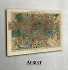 Vintage map of London on Canvas print - LARGE - ready to hang on the wall