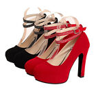 Ladies Chunky High Heels Hidden Platform Cross Ankle Strap Pump Prom Party Shoes