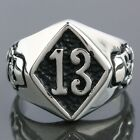 316L Stainless Steel Lucky Number 13 Skeleton Skull Head Motorcycle Band Rings