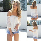 New Womens Sexy White Lace Off-shoulder Loose Tops Fashion Casual T-Shirt Blouse