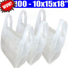 Plastic White Vest Carrier Bags For Shops/Stalls/Takeaways 10x15x18