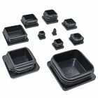 SQUARE PLASTIC BLACK BLANKING END CAPS TUBE PIPE INSERT PLUG BUNG BOX SECTION