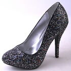 NEW WOMENS BLACK SILVER GLITTER HIGH HEEL PUMP