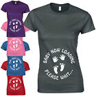 Baby Now Loading Please Wait Ladies Fitted T-Shirt Funny Maternity Pregnancy Top