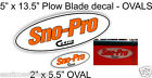 2 CURTIS Snow Plow OVAL Stickers SNO-PRO Decal 1 LG Blade + 1 Sml Decal NEW SPB1