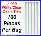 "100 Pieces 6"" inch White Plastic Nylon CABLE TIES Wire Cord Wrap Network Zip Tie"