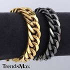 14mm Cut Curb Link Gold Black Tone Boys Mens Chain 316L Stainless Steel Bracelet