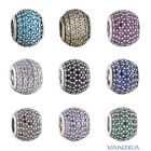 9 Colors Pave Lights CZs Authentic silver Large Hole Charm Spherical bead
