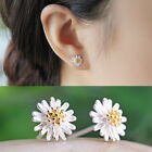 Fad Women Jewelry 925 Silver Plated Chrysanthemum Daisy Shape Ear Stud Earrings