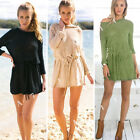 Damen Pullover LongPulli Strick Tunika TOP Langarm Kleid Sweatshirt Sweater S~XL