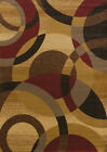 Gold Contemporary Carpet Circles Hoops Loops Dots Olefin Turkish Area Rug
