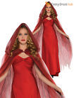 Ladies Deluxe Long Red Cape Riding Hood Adult Book Week Fancy Dress Costume
